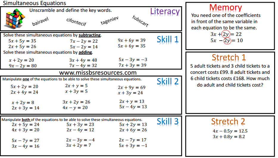 simultaneous linear equations worksheet pdf