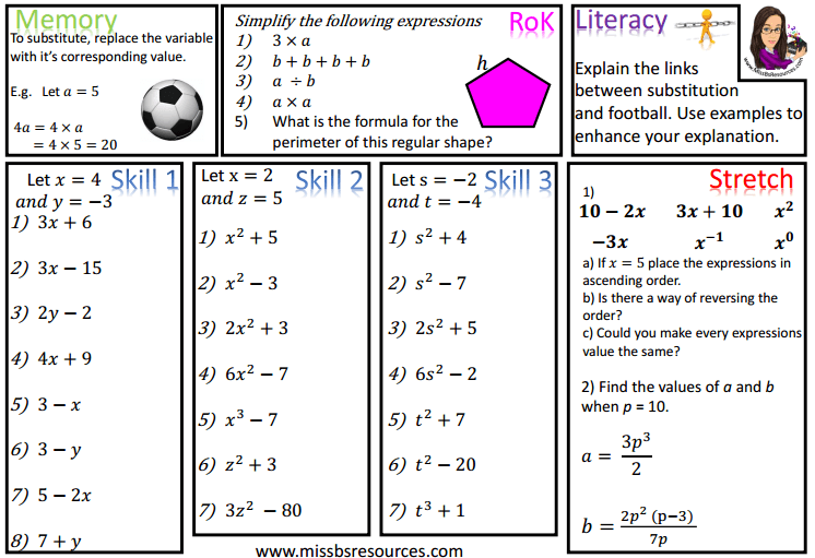 Printables Substitution Worksheet algebra maths differentiated worksheets worksheets