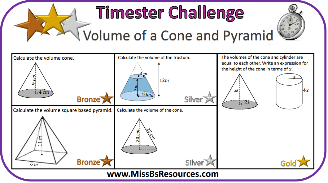 Math Worksheets Volume Of Pyramids And Cones ...