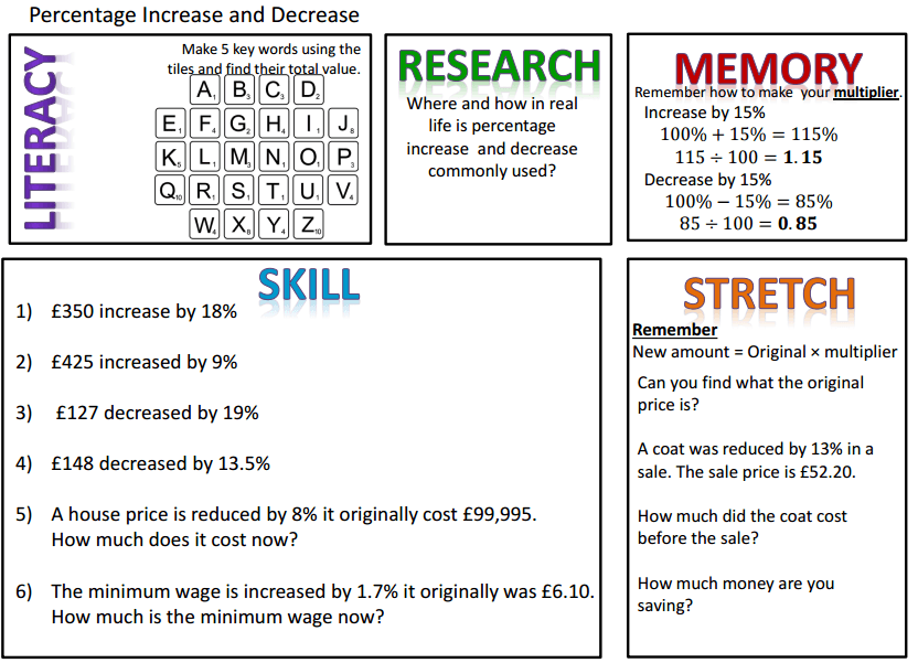 Maths homework help percentages