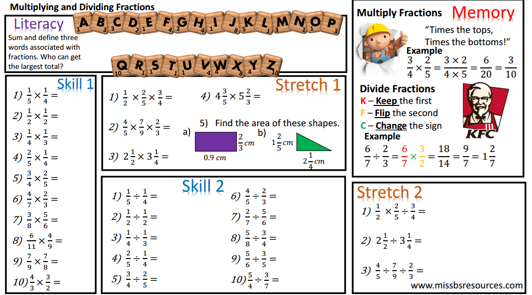 Number Maths Differentiated Worksheets – Multiplying and Dividing Fractions Worksheets with Answers