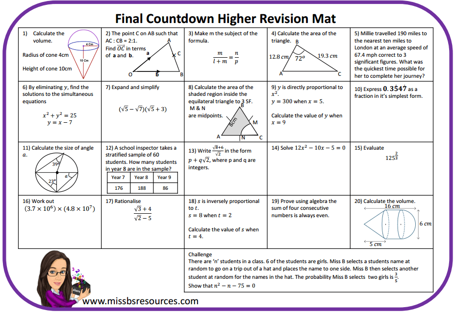 maths revision mats  maths resources maths gcse a a revision question mat