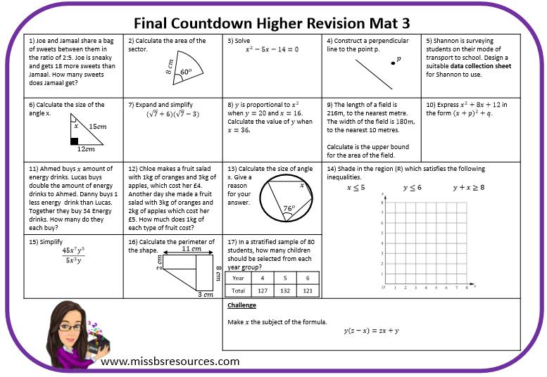 Maths Revision Mats | Maths resources