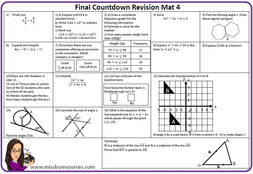 Maths Revision Mats | Maths resources